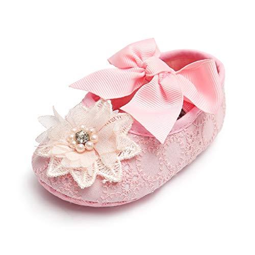 Auxma Nouveau née Bébé fille Semelle souple Chaussures Bowknot Fond doux Fleur Prewalker baskets (0-6 mois, ZZ)