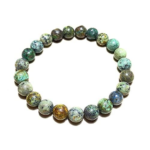 Crystallay Natural Turquesa africana Gemstone 8MM Cuentas Chakra Crystal Healing Stretch Pulsera Meditación, Relex, Concquer Fear Brazalete para mujeres y hombres