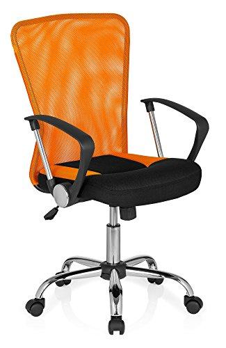 hjh OFFICE Net Star Sedia da Ufficio/Poltrona Presidenziale, Tessuto Rete, 100% Poliestere, Nero/Arancione Cromo