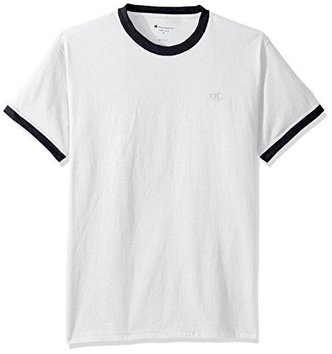 Champion Men's Classic Jersey Ringer Tee, White/Navy, XL