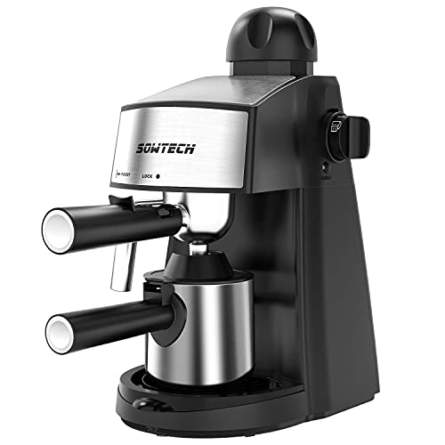 Espresso Machine 3.5 Bar 4 Cup Espresso Maker Cappuccino Machine with Steam Milk Frother and Stainless Mug (Renewed)