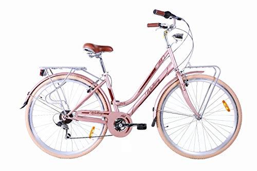 IBK Bicicletta Bici Trekking 28' City Bike Donna Cambio Shimano 7V Vintage, Luci, Portapacchi (Rosa Antico)