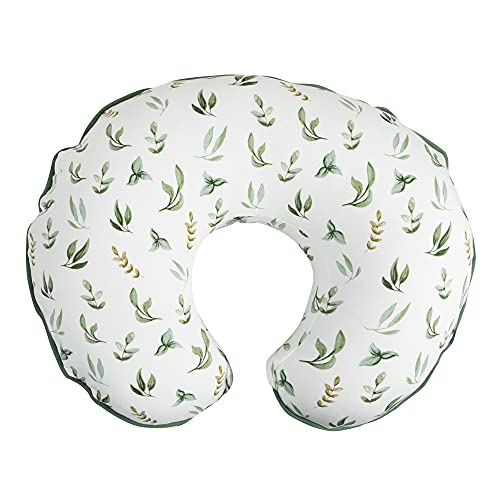 Boppy Organic Fabric Nursing Pillow Cover, Green Little Leaves, Fashionable Two-Sided Design, Fits All Boppy Nursing Pillows & Positioners