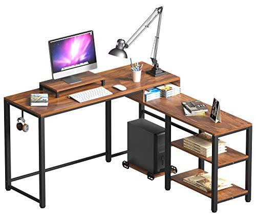 Gelibo L Shaped Corner Desk,59 Inch Rustic Wood Corner Desk with Storage Shelves for Home Office (Rustic Brown)