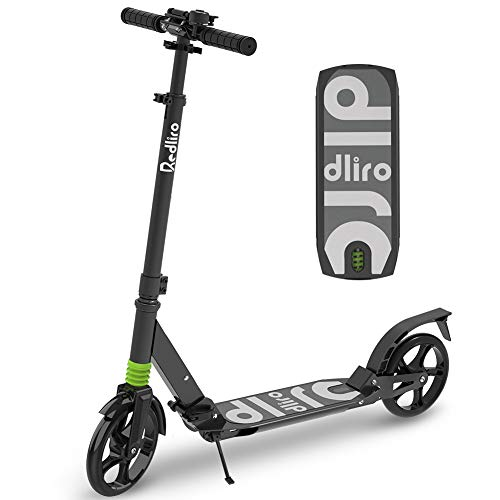 REDLIRO Kids/Adults Scooter with Rear Break, Adjustable Handlebars, Big Wheels, Shock Absorption - Folding Sport Kick Scooters for Teens Boys Riders up to 265 lbs