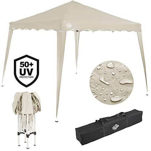 Deuba® Pavillon Capri 3x3m wasserdicht Pop-Up inkl. Tasche UV-Schutz 50+ Faltpavillon Gartenzelt Partyzelt Creme