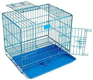 RvPaws Dog Cage Easy to Move with Removable Tray Iron Cage for Dog & Rabbit 24 Inch Sky Blue