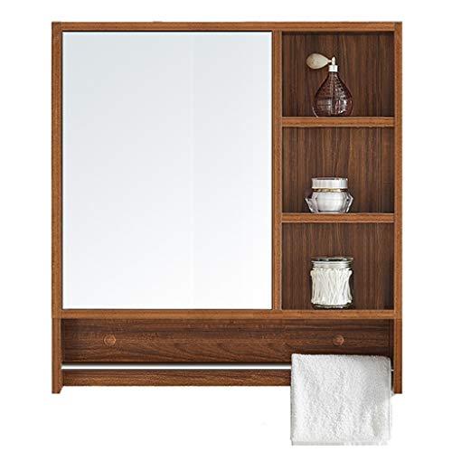 Armoires avec miroir Armoire de Toilette en Bois Massif Miroir de Salle de Bain Boîte à miroirs Murale Multicouche avec Plusieurs étagères avec Porte-Serviettes Miroirs de Salle de Bain