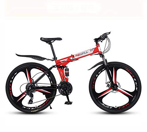 GASLIKE Mountain Bike per Adulti, Bicicletta Pieghevole Telaio in Acciaio ad Alto tenore di Carbonio, Biciclette MTB a Sospensione Completa, Doppio Freno a Disco, Pedali in PVC,Rosso,26 inch 27 Speed