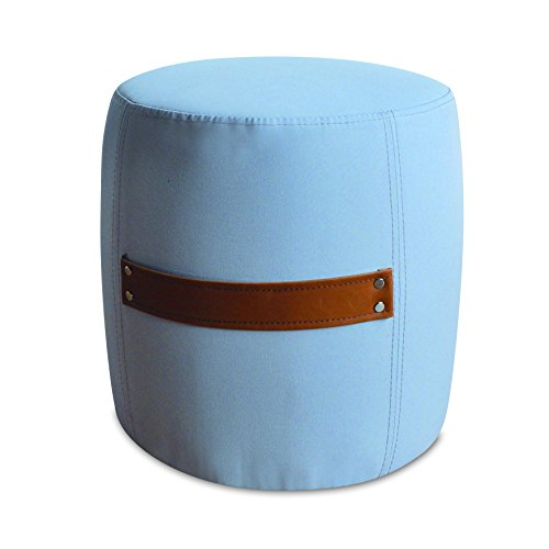 My Note Deco Pouf MITSY, Tissus 100% Polyester, Stucture Bois, Rembourrage Mousse, Poignée PU, Taupe/Brun