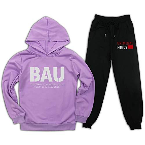 Cr-IMI-nal Mi-nds BAU Kinder Sweatshirt + Sweatpants Trainingsanzug Dünne Samt Anzüge FBI Outfit Jungen Mädchen Pullover 2 Pcs Pullover Hoodie Gr. XL, violett/schwarz