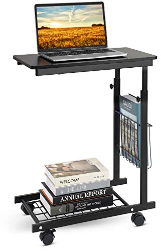 Sofa Side Table, C Shaped End Side Table, Mobile Laptop Table Height Adjustable, Bedside Laptop Desk on Wheels,Couch Snack Table with Side Pocket, Over Bed Table, (Black) 50.5 x 30 x (58-82) cm