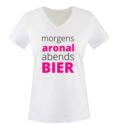 Morgen ARONAL ABENDS Bier - Damen V-Neck T-Shirt - Weiss/Schwarz-Pink Gr. M