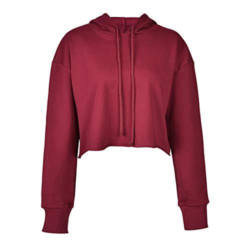 Gengric - Sudadera con capucha para mujer, de algodón de otoño e invierno, de manga corta rojo intenso L