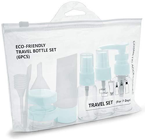 MyGadget Set Bottiglie da Viaggio - Contenitori Portatili da Aereo per Cosmetici Liquidi - Flaconi Trasparenti / Dispenser per Bagaglio a Mano - Tappo Blu