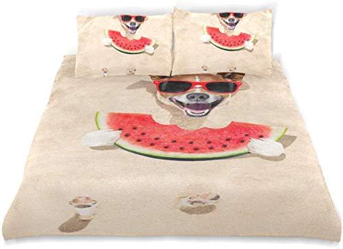 Qoqon Duvet Cover Set Jack Russell Dog Buried Sand Beach Decorative 3 Piece Bedding Set with 2 Pillow Shams