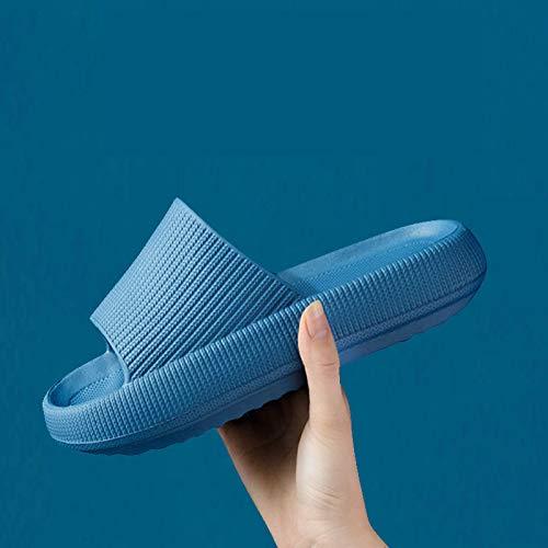 QAZW Zapatillas De Casa Ultrasuaves Sandalias Casuales Universales Engrosadas, Zapatos De Suela Gruesa Antideslizantes De Baño,toboganes De Ducha De Secado Rápido,Blue-9/10