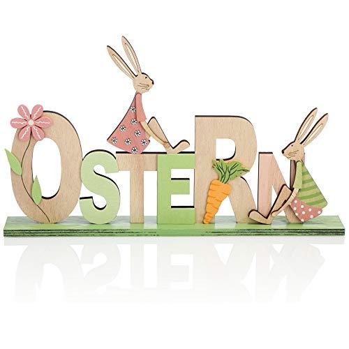 com-four® Soporte de decoración para Pascua - Letras con Conejito de Pascua - Decoración de Pascua para Colocar - Decoración de Pascua de Madera
