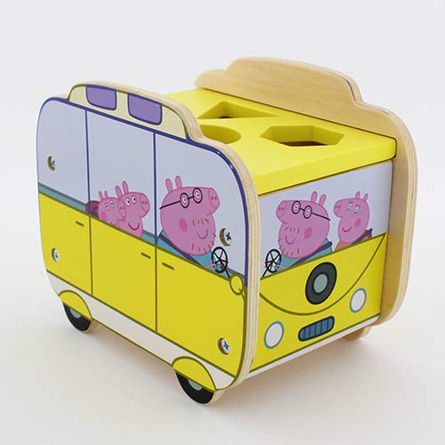 Milly & Flynn Peppa Pig Wooden Shape Sorter Camper Van With 4 Shaped Holes & 8 Wooden Blocks - Suitable For Ages 2+