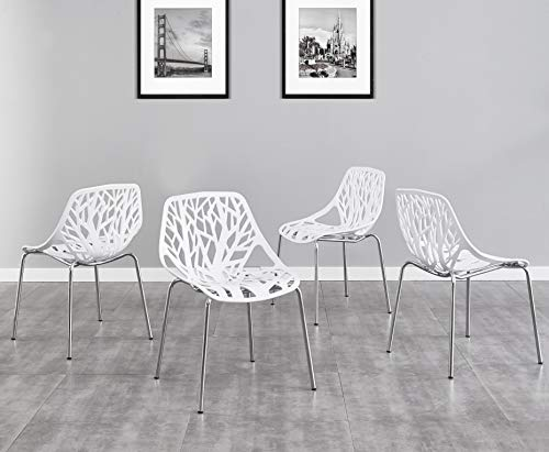 SALBAY Chrome Metal Round Thicken Glass Dining Table And 4 Black/White Fashion Dining Chairs (4 Chairs(White))