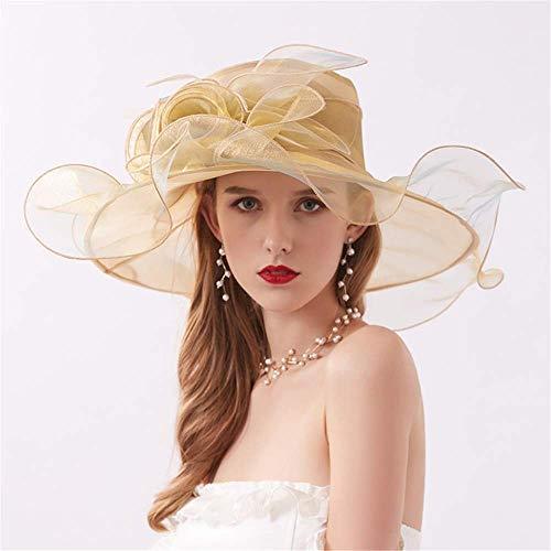 El Organza sombreros de Sun, Mujeres ajustable plegable 13cm flor de novia de la boda Iglesia ancho del casquillo protector solar de verano Tea Party ala Derby de Kentucky primavera ( Color : Gold )