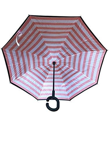 Innovativer Regenschirm, Umgekehrter Regenschirm, Reverse Umbrella, Inverted Umbrella, Sonne, Sonnenschutz, Sonnenschirm, Geschenk (Marine Rosa)