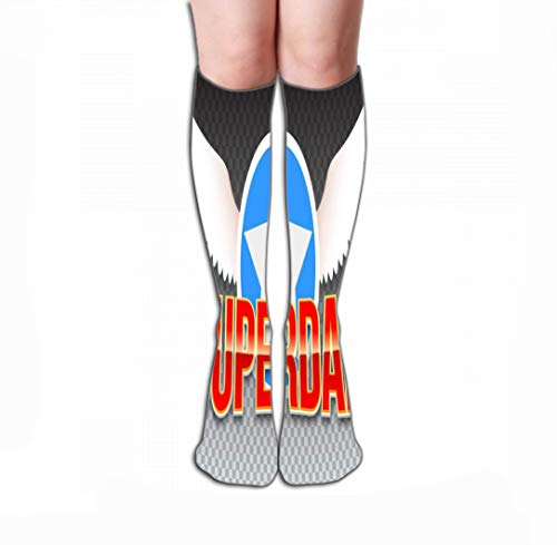 Xunulyn Calze Alte Men Women Outdoor Sports High Socks Stocking Super Dad Red Shiny Text Horizontal Transparent Background Hero Typography White Wings Star Tile Length 19.7' in(50cm)