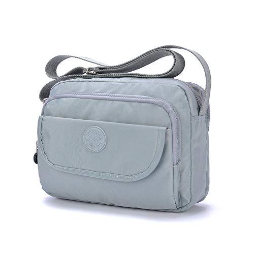 tuokener Tasche Klein Damen Umhängetasche Street Bag Wasser-Beständige Nylon Viele Fächer Schultertaschen(grau)