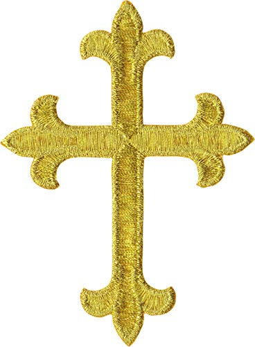 Gold Ornate Cross - Embroidered Iron on Patch