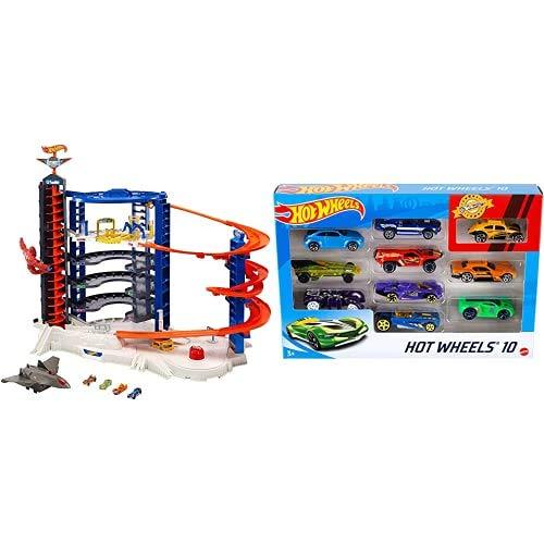 Hot Wheels - Super Ultimate Garage Playset per Macchinine con 4 Veicoli Inclusi, Giocattolo per Bambini 4+ Anni, FML03 + Hot Wheels Set Macchinine da 10 Veicoli in Scala 1:64