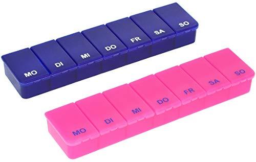 com-four® 2X Medikamentendosierer - Medikamenten-Box für 7 Tage - Pillendose - Tablettendose - Tablettenbox - Wochendosierer zur Aufbewahrung (02 Stück - pink/Marineblau)