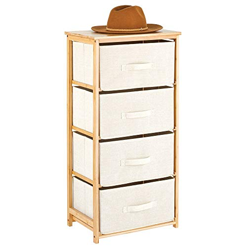 mDesign Vertical Dresser Storage Tower - 4 Drawers - Sturdy Bamboo Frame with Easy Pull Fabric Bins...