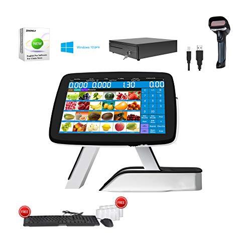 Caisse enregistreuse pour petites entreprises avec imprimante de reçus thermique intégrée + scanner de codes-barres + tiroir-caisse + Win10 Pro + MSJ POS Softwear