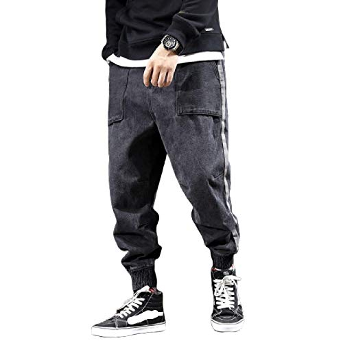 Beastle Pantalones Vaqueros de Primavera y otoño para Hombre, Pantalones de Mezclilla Holgados de Moda Retro, Pantalones Vaqueros Deportivos Ajustables Informales de Tendencia callejera 30