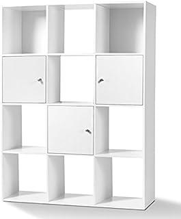 IDMarket - Meuble de Rangement Cube Rudy 12 Cases Bois Blanc avec Portes