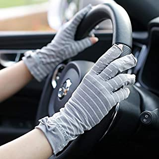 SHENTIANWEI Women's Anti-UV Anti-slip Thin Section Striped Half Finger Sunscreen Gloves (Color : GRAY, Size : One size-Five pairs)