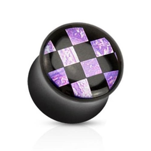 Coolbodyart Unisex Double Flared Plug Tunnel 5-16mm Checkered Inlay 6,5mm