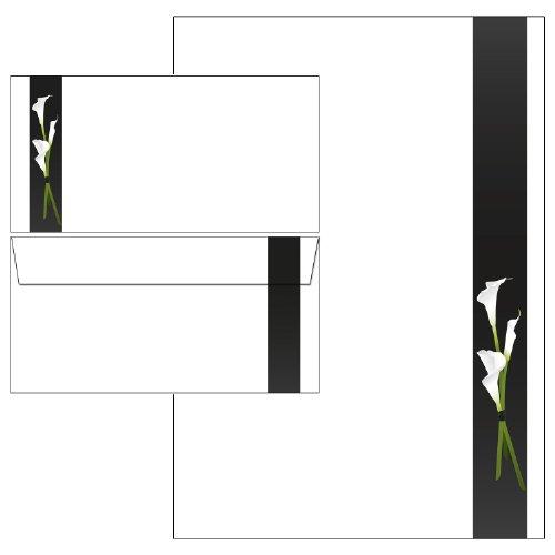 Trauer - weiße Calla Set - Briefpapier + Briefumschläge DIN lang ohne Fenster (25 Blatt Briefpapier + 25 Kuverts)