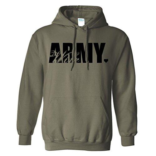 Army Wife Heart Heart Hooded Sweatshirt in Military Green - Medium