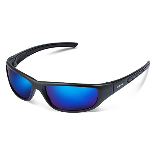 Duduma Gafas de Sol Deportivas Polarizadas Para Hombre Perfectas Para Esquiar Golf Correr Ciclismo TR8116 Súper Liviana Para Hombre y Para Mujer (marco mate negro con lente azul)