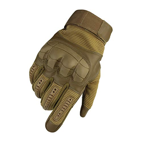 WELOVEHOME Tactical Gloves Men, Touch Screen Full Finger Army Military Gloves Rubber Hard Knuckle for Motorbike Climbing Hiking Hunting Shooting Airsoft Paintball Cycling Outdoor Sports Khaki L