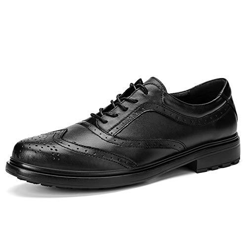 WZQDM Oxfords Zapatos de Vestir para Hombres con Puntas de alas Full Brogues 5-Eye Lace Up Block Heel Real Cuero Condón Suela (Color : Black, Size : 40 EU)