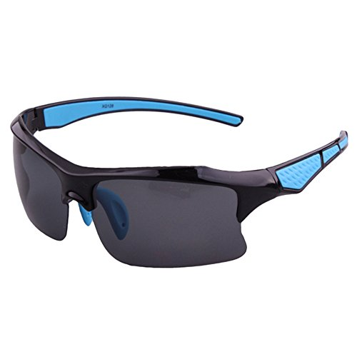 Gafas Deportivas Polarizador Con Espejo Retrovisor Negro y Azul Claro
