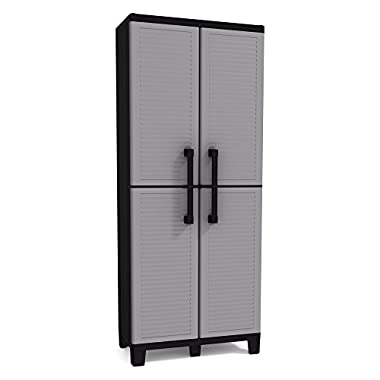 Keter Space Winner Tall Metro Storage Utility Cabinet Indoor/Outdoor Garage or Home Storage with Adjustable Shelves