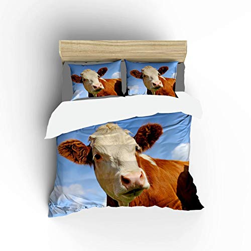 FlowerFish Dairy Cow On A Rich Green Meadow Ultra Soft Microfiber Lightweight Quilt Cover Sets Best Decorative 2 Piece Bedding Set for Boys Girls Bedroom -1Duvet Cover + 1Pillow Sham, Twin Size