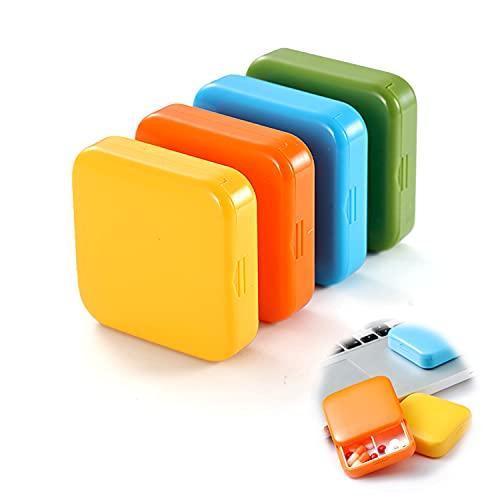 paquete de 4, pastillero pequeño con 2 compartimentos, pastillero portátil, pastillero de almacenamiento portátil, pastillero, dispensador de medicamentos, pastillero fácil de llevar
