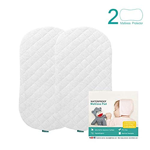 Bassinet Mattress Pad Cover(Improved Style), Waterproof, Fit for Hourglass/Oval Bassinet Mattress, 2 Pack, Ultra Soft Bamboo Fleece Surface, Washer & Dryer, No Loosen and Pre-Shrinked