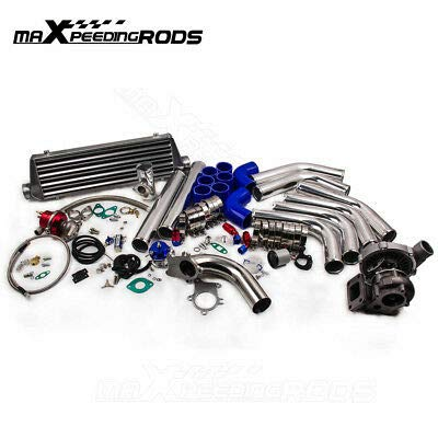 maXpeedingrods New T3 T4 T04E Universal Turbo Charger Kit Stage III + Wastegate + 2.5″ Turbo Intercooler + Piping KIt 10Pcs