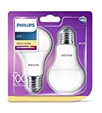 Philips Lot de 2 Ampoules LED Standard Culot E27, 13W équivalent 100W, Blanc Chaud 2700K, Dépolie
