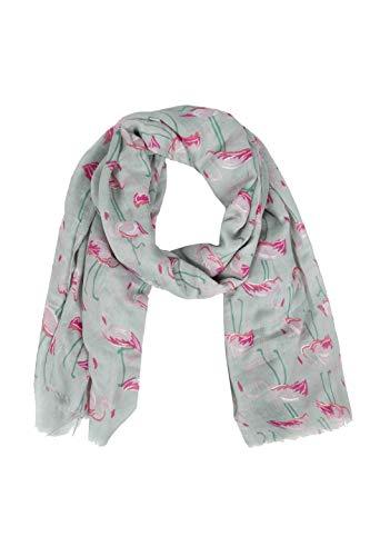 Zwillingsherz Sommerschal im Flamingo Print - Eleganter Freizeitschal - Tuch für Frauen Damen Mädchen - Hochwertiger Damenschal - Halstuch und Chiffon-Stola – 180 x 90 - Frühjahr Sommer Herbst Winter